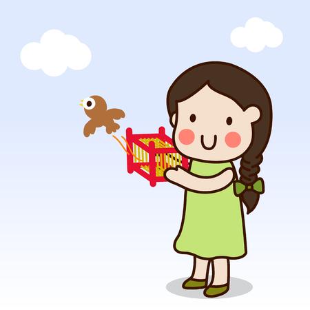 自由にケージから女の子解放の鳥は、仏教活動の一つです。  イラスト・ベクター素材