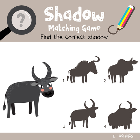 Shadow matching game of Buffalo animals for preschool kids activity worksheet colorful version. Vector Illustration. Illustration