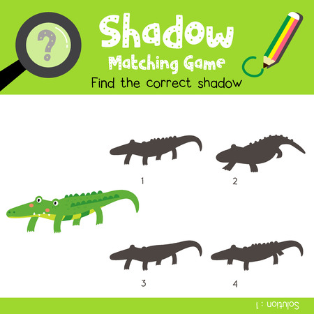 Shadow matching game of alligator animals for preschool kids activity worksheet colorful version. Vector Illustration.