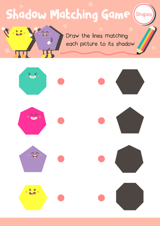 heptagon: Shadow matching game of shapes for preschool kids activity worksheet layout in A4 colorful printable version. Vector Illustration.