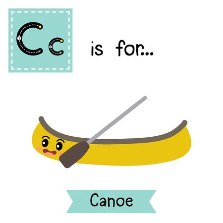 Letter C voor kano, alfabet tracing flashcard voor kinderen leren Engels vocabulaire vectorillustratie.