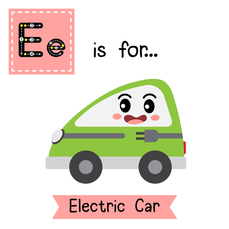 Letter E cute children colorful transportations alphabet tracing flashcard of Electric Car for kids learning English vocabulary Vector Illustration.