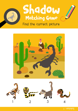 Shadow matching game by finding the correct picture of Scorpion animals for preschool kids activity worksheet colorful printable version layout in A4 vector illustration.
