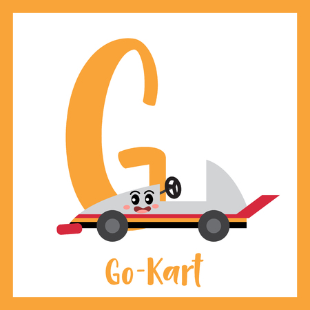 Letter G cute children colorful transportations ABC alphabet flashcard of Go-Kart for kids learning English vocabulary Vector Illustration.