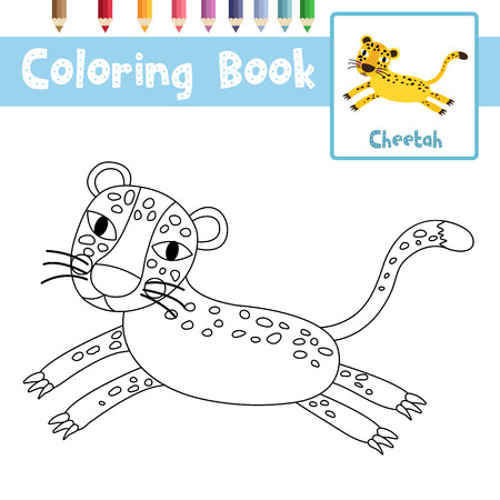 #83321060   Coloring Page Of Jumping Cheetah Animals For Preschool Kids  Activity Educational Worksheet. Vector Illustration.