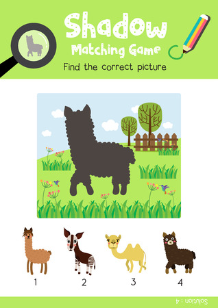 Shadow matching game by finding the correct picture of dark brown alpaca animals for preschool kids activity worksheet colorful printable version layout in A4 vector illustration.