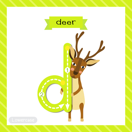 Letter D lowercase cute children colorful zoo and animals ABC alphabet tracing flashcard of Deer standing on two legs for kids learning English vocabulary and handwriting vector illustration.
