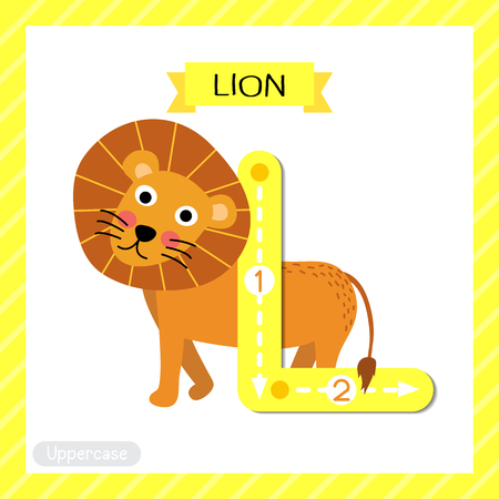 school: Letter L uppercase cute children colorful zoo and animals ABC alphabet tracing flashcard of Lion for kids learning English vocabulary and handwriting vector illustration. Illustration