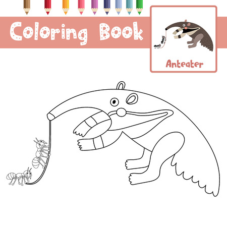 Coloring Page Of Anteater Animals For Preschool Kids Activity Educational Worksheet Vector Illustration Stock