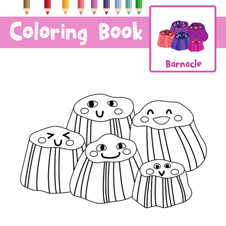 Coloring page of Barnacles animals for preschool kids activity educational worksheet. Vector Illustration.
