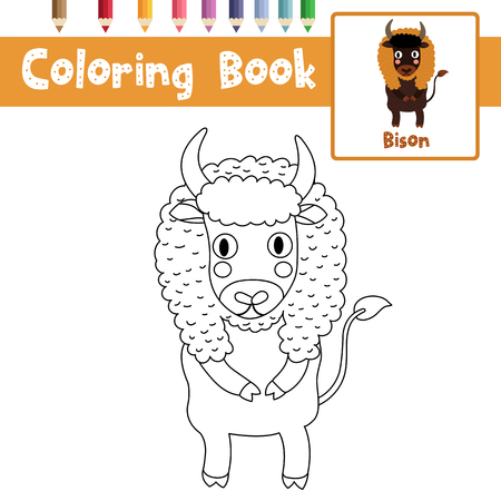 #86380139   Coloring Page Of Bison Standing On Two Legs Animals For  Preschool Kids Activity Educational Worksheet. Vector Illustration.