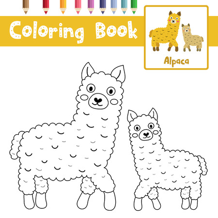 Coloring Page Of Mother And Child Alpacas Animals For Preschool Kids Activity Educational Worksheet Vector