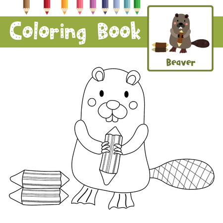 Nice #86380146   Coloring Page Of Standing Beaver Holding A Log Animals For  Preschool Kids Activity Educational Worksheet. Vector Illustration.