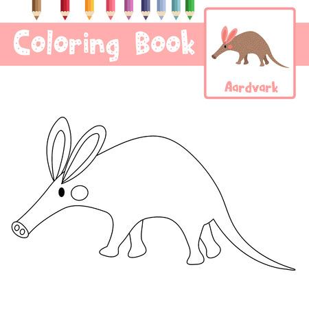 Coloriage des animaux Aardvark pour la feuille de travail éducative de l'activité des enfants d'âge préscolaire. Illustration vectorielle