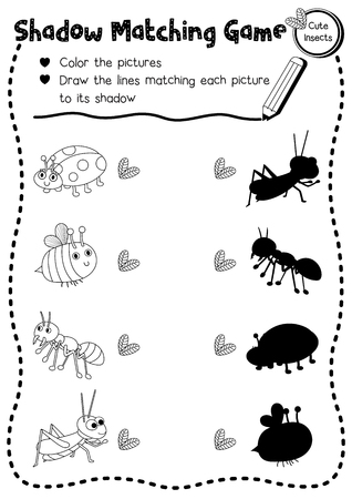 Shadow matching game of insect bug animals for preschool kids activity worksheet layout in A4 coloring printable version. Vector Illustration. Ilustração