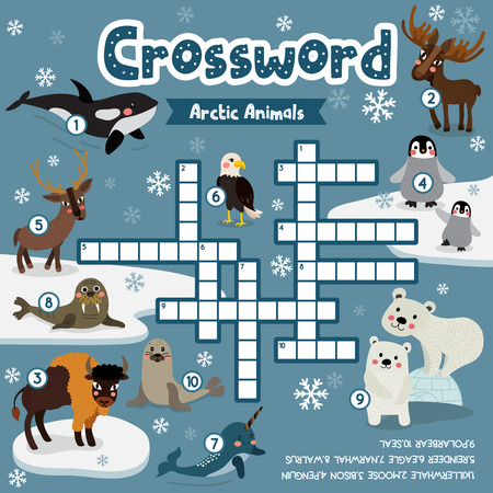 Crosswords puzzle game of arctic animals for preschool kids activity worksheet colorful printable version. Vector Illustration. Ilustração