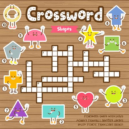 Kreuzworträtsel Spiel von Formen für Vorschule Kinder Aktivität Arbeitsblatt bunte druckbare Version. Vektor-Illustration.