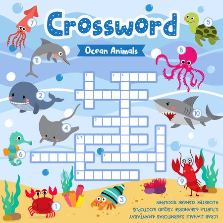 Crosswords puzzle game of ocean animals for preschool kids activity worksheet colorful printable version. Vector Illustration.