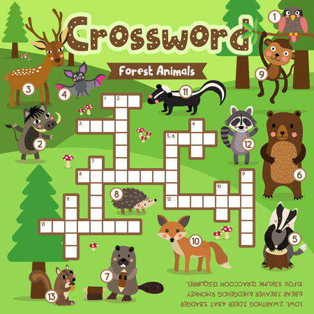 Crosswords puzzle game of forest animals for preschool kids activity worksheet colorful printable version. Vector Illustration.