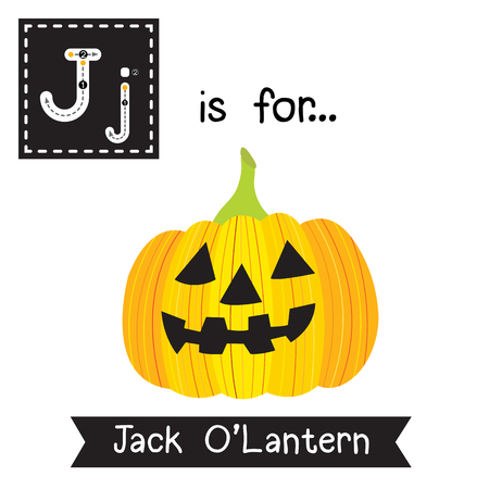 Cute children ABC alphabet J letter tracing flashcard of Jack OLantern for kids learning English vocabulary in Happy Halloween Day theme.