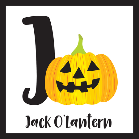Cute children ABC alphabet J letter flashcard of Jack OLantern for kids learning English vocabulary in Happy Halloween Day theme. Illusztráció