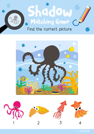 Shadow matching game by finding the correct picture of Magenta Octopus animals for preschool kids activity worksheet colorful printable version layout in A4 vector illustration