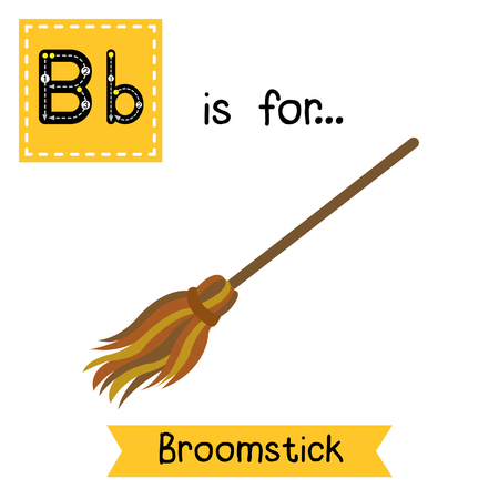 Cute children ABC alphabet B letter tracing flashcard of Broomstick for kids learning English vocabulary in Happy Halloween Day theme. Illustration