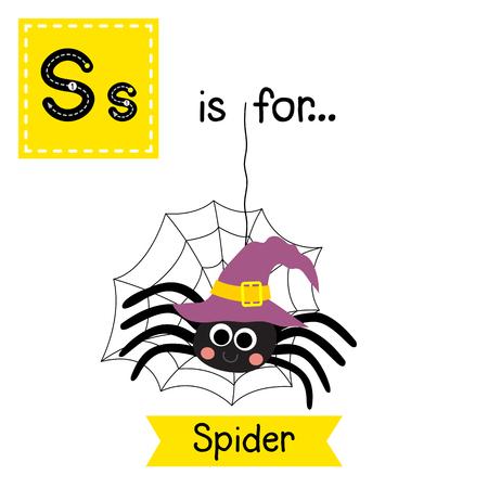 Schattige kinderen ABC alfabet S brief traceren flashcard van Spider met heksenhoed en web voor kinderen leren Engels vocabulaire in Happy Halloween Day thema.