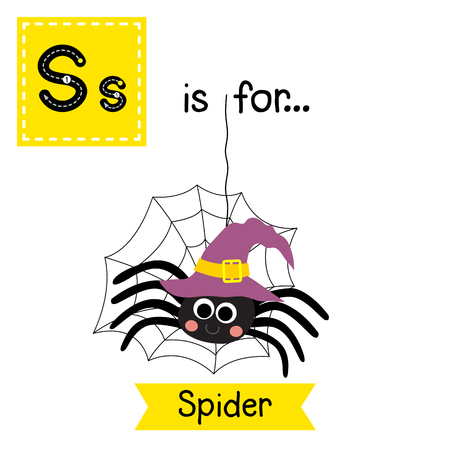 Cute children ABC alphabet S letter tracing flashcard of Spider with witch hat and web for kids learning English vocabulary in Happy Halloween Day theme. Illustration