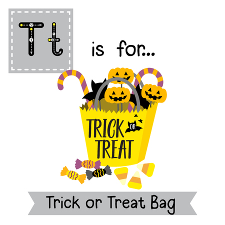 Cute children ABC alphabet T letter tracing flashcard of Trick or Treat Bag for kids learning English vocabulary in Happy Halloween Day theme.