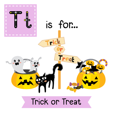 Cute children ABC alphabet T letter tracing flashcard of Trick or Treat making a choice for kids learning English vocabulary in Happy Halloween Day theme. Illustration