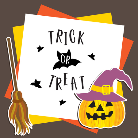 Cute Halloween in Trick or Treat design concept with purple witch hat on Jack OLantern pumpkin, broomsticks on frame template for poster, banner, party invitation, greeting card.