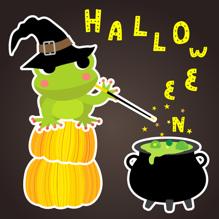Cute Halloween design concept with magic frog sitting on pumpkins wearing black witch hat spelling on cauldron to create HALLOWEEN lettering for poster, banner, party invitation, greeting card
