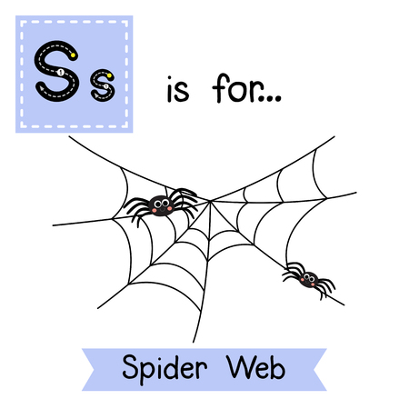 Cute children ABC alphabet S letter tracing flashcard of Spider Web for kids learning English vocabulary in Happy Halloween Day theme. Vector illustration.