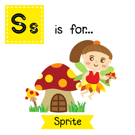 Cute children ABC alphabet S letter tracing flashcard of Sprite flying above mushroom house for kids learning English vocabulary in Happy Halloween Day theme. Vector illustration.