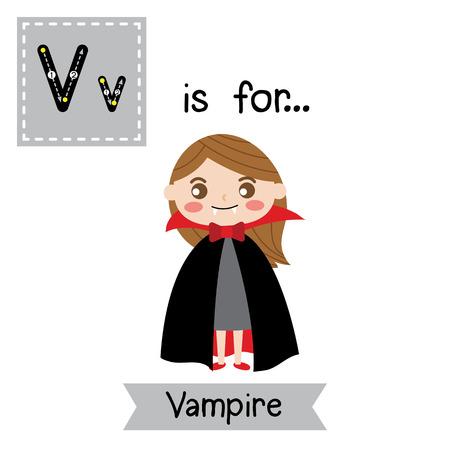 Carino bambini ABC alfabeto V lettera tracing flashcard di femmina Vampiro per bambini che imparano il vocabolario inglese in tema Happy Halloween Day. Illustrazione vettoriale Archivio Fotografico - 88045994