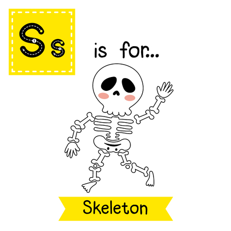 Cute children ABC alphabet S letter tracing flashcard of walking Skeleton for kids learning English vocabulary in Happy Halloween Day theme. Illustration
