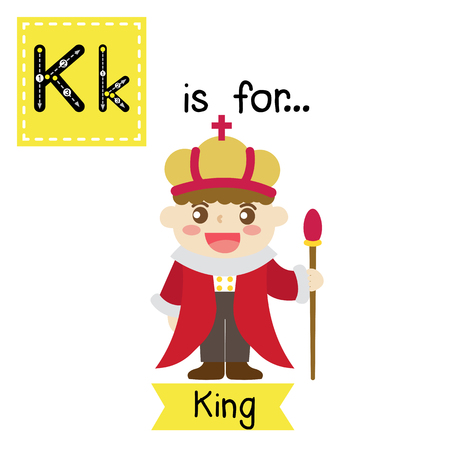 Cute children ABC alphabet K letter tracing flashcard of King for kids learning English vocabulary in Happy Halloween Day theme. Vector illustration. Ilustrace