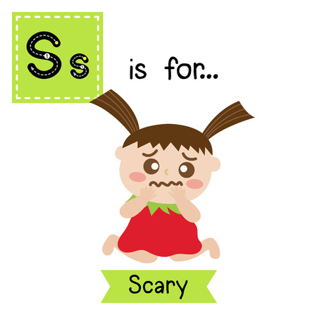 Cute children ABC alphabet S letter tracing flashcard of Scary for kids learning English vocabulary in Happy Halloween Day theme. Vector illustration. Illustration