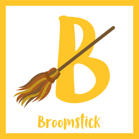 Cute children ABC alphabet B letter flashcard of Broomstick for kids learning English vocabulary in Happy Halloween Day theme. Vector illustration.