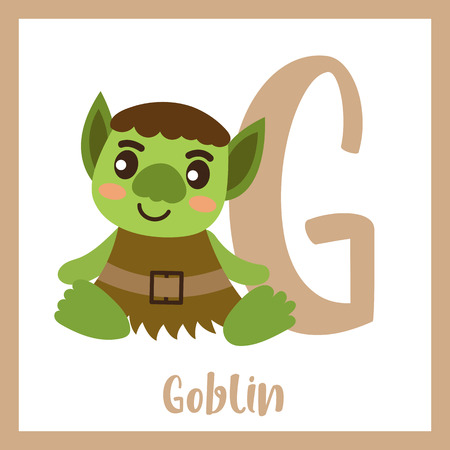 Cute children ABC alphabet G letter flashcard of green Goblin for kids learning English vocabulary in Happy Halloween Day theme. Vector illustration.