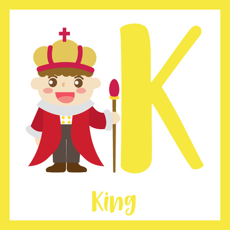 Cute children ABC alphabet K letter flashcard of King for kids learning English vocabulary in Happy Halloween Day theme. Vector illustration. Ilustrace