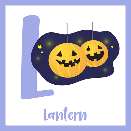 Cute children ABC alphabet L letter flashcard of Lantern for kids learning English vocabulary in Happy Halloween Day theme. Vector illustration. Illustration
