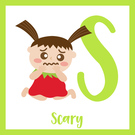 Letter S flashcard of scary kid for kids learning English vocabulary in Halloween theme. Illustration