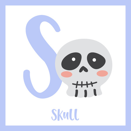 Letter S flashcard of skull for kids learning English vocabulary in Halloween theme. Illusztráció