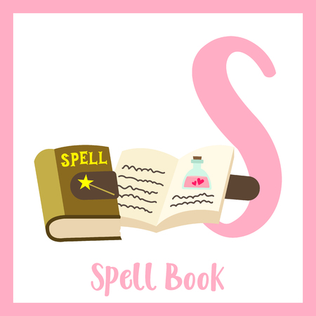Letter S flashcard of spell book for kids learning English vocabulary in Halloween theme.