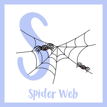 Letter S flashcard of spiderweb for kids learning English vocabulary in Halloween theme. Illusztráció