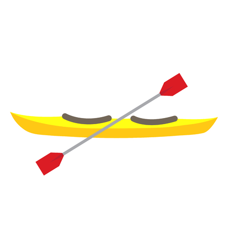 Kayak transportation cartoon character side view isolated on white background vector illustration.