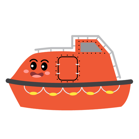 Lifeboat transportation cartoon character side view isolated on white background vector illustration.