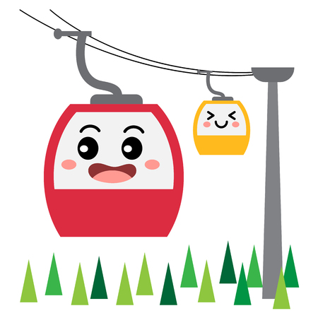 Aerial Tramway transportation cartoon character side view isolated on white background vector illustration.